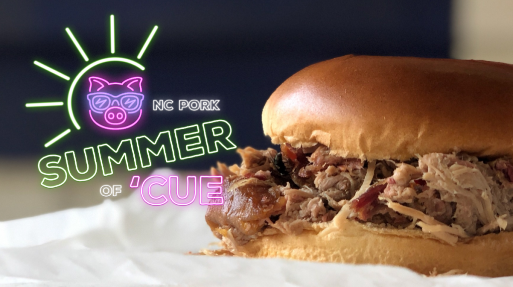 Summer of Cue logo and barbecue sandwich from Southern Smoke Barbecue in Garland, NC